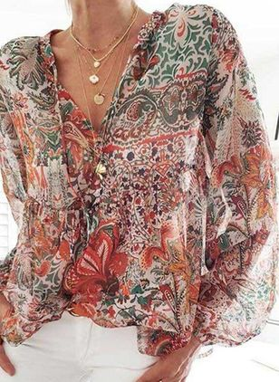 Floral Casual V-Neckline Long Sleeve Blouses (4074401)
