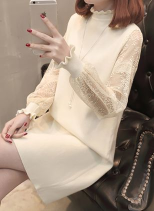 Solid Lace Sweater Above Knee Shift Dress