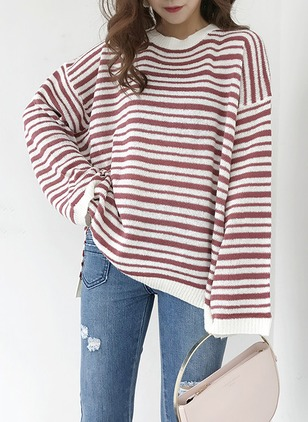 Cotton Round Neckline Stripe Casual Loose Sweaters