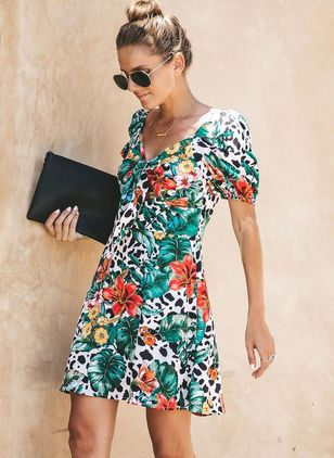 Floral Skater V-Neckline Above Knee X-line Dress