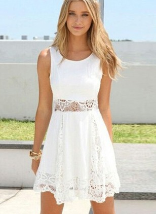 Solid Lace Tank Sleeveless A-line Dress