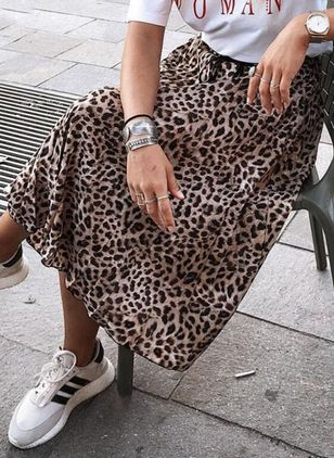 Leopard Knee-Length Casual Skirts (1510842)