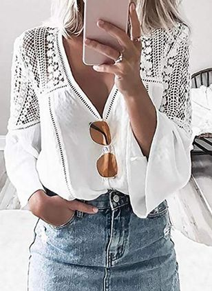 Solid Sexy V-Neckline Long Sleeve Blouses