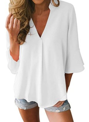 Solid Casual V-Neckline 3/4 Sleeves Blouses (1540195)