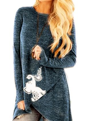Animal Round Neck Long Sleeve Casual T-shirts (5715692)