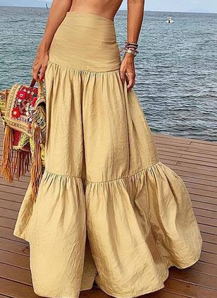 Solid Maxi Casual Ruffles Skirts (1520072)