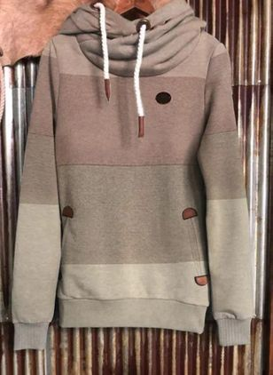 Color Block Casual Hooded Pockets Sweatshirts (118207015)