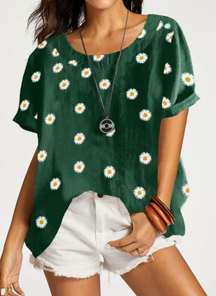 Floral Casual Round Neckline Short Sleeve Blouses (1540225)
