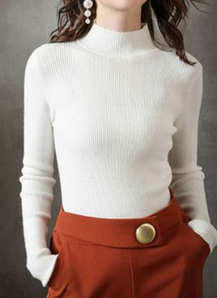 High Neckline Solid Casual Tight Regular Shift Sweaters (109556067)