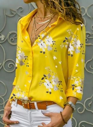 Floral Elegant Collar Long Sleeve Blouses (4101265)
