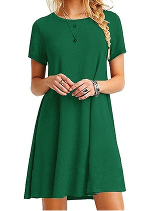 Cotton Solid Tshirt Short Sleeve Dress