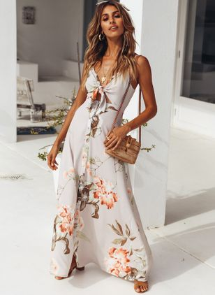 Floral Buttons Slip Maxi X-line Dress