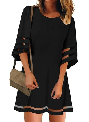 Casual Solid Tunic Round Neckline Shift Dress (1530388)