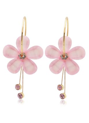 Casual Floral Gemstone Dangle Earrings (147243568)