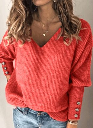 V-Neckline Solid Casual Loose Regular Buttons Sweaters (101987618)