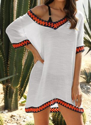 Polyester Geometric Cover-Ups Swimwear (146992967)