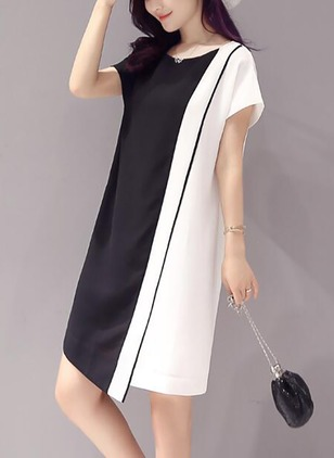 Color Block Short Sleeve Shift Dress