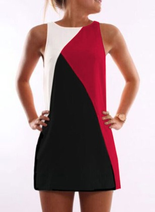 Color Block Sleeveless Above Knee Shift Dress