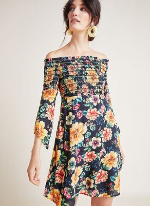 Floral 3/4 Sleeves Above Knee X-line Dress