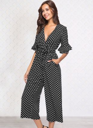 Polka Dot Half Sleeve Jumpsuits & Rompers