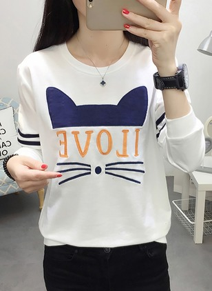 Cotton Animal Round Neck Long Sleeve Casual T-shirts