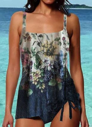 Polyester Knotted Floral Tankinis Swimwear (147224596)