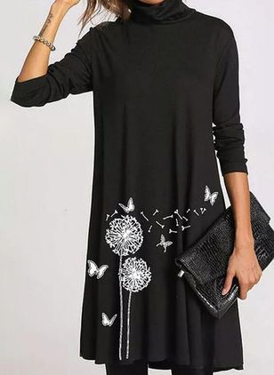 Casual Floral Tunic High Neckline A-line Dress (146681721)