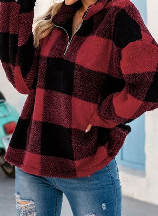 Plaid Casual High Neckline Zipper Sweatshirts (146713251)
