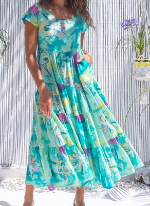 Casual Floral Round Neckline Maxi Shift Dress (146949437)
