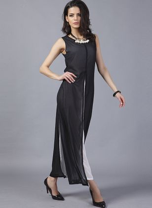 Solid Hollow Out Sleeveless Maxi A-line Dress
