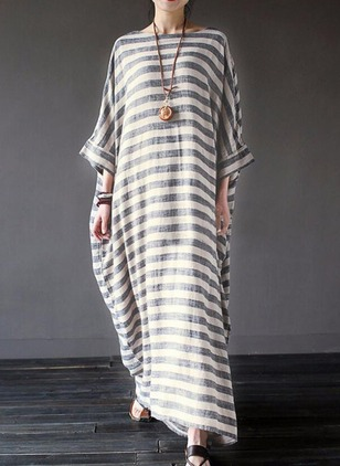 Stripe Peasant Long Sleeve Maxi Shift Dress