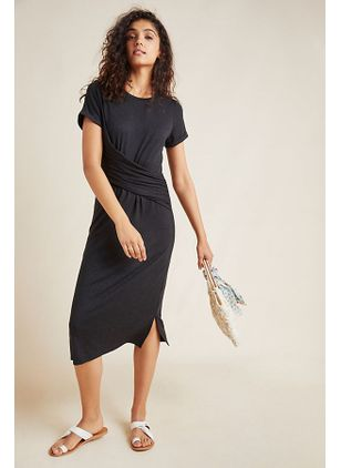 Solid Pencil Short Sleeve Midi Sheath Dress