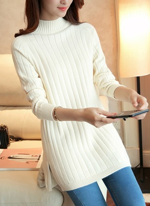 High Neckline Solid Tight Long Sweaters