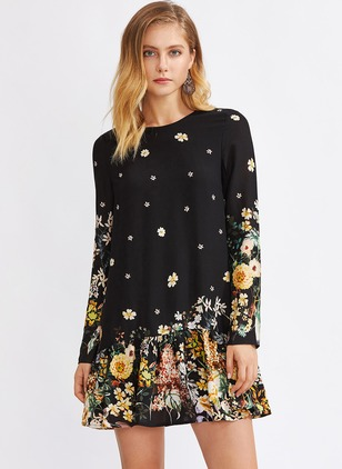 Floral Ruffles Long Sleeve Shift Dress