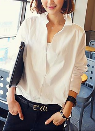 Solid Casual Lace Collar Long Sleeve Blouses