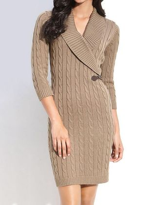 Casual Solid Sweater V-Neckline Sheath Dress (146659249)