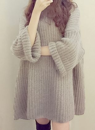 Round Neckline Solid Oversized Loose Long Sweaters