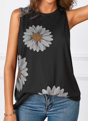 Floral Round Neck Sleeveless Casual T-shirts (146964403)