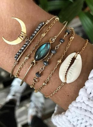 Vintage Moon Water Drop Gemstone Link Bracelets (107805370)