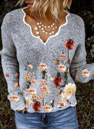 V-Neckline Floral Casual Regular Shift Sweaters (146738024)