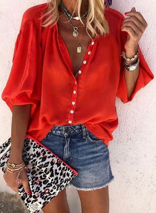 Solid Casual V-Neckline Half Sleeve Blouses (1509453)