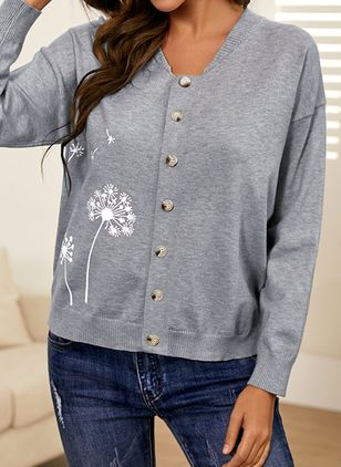 Round Neckline Floral Casual Regular Buttons Sweaters (146775410)