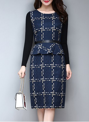 Polyester Plaid Long Sleeve Midi Dresses