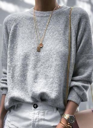 Round Neckline Solid Casual Shift Sweaters (112602087)