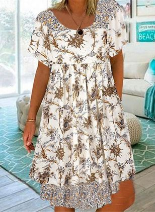 Casual Floral Round Neckline Knee-Length Shift Dress (146941562)
