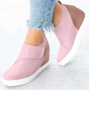 Women's Velcro Round Toe Wedge Heel Pumps