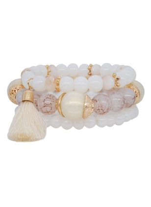 Casual Tassel Gemstone Beaded Bracelets (4045749)