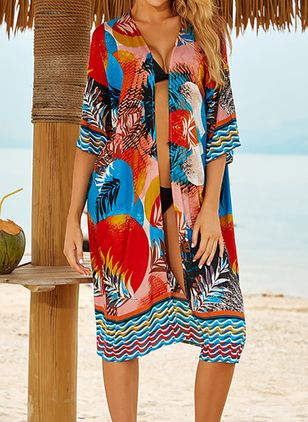 Cotton Floral Cover-Ups Swimwear (4456714)