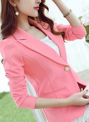 Polyester Long Sleeve Collar Buttons Pockets Coats