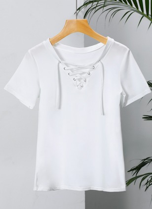 Cotton Solid Short Sleeve Sexy T-shirts